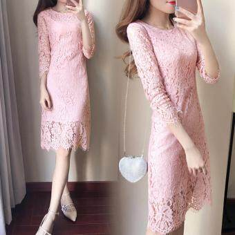 Harga KOREA LACE MIDI DRESS (PINK)