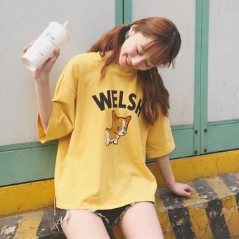 Korea ulzzang Harajuku style BF summer women's New style Print wild hem open short student short-sleeved t-shirt female (Beige)