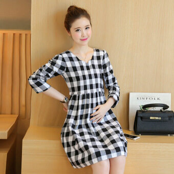 Harga Korean Fashion Plaid Pattern Long Sleeve A-Line Maternity Dress forPregnant HMDRESS023 Black
