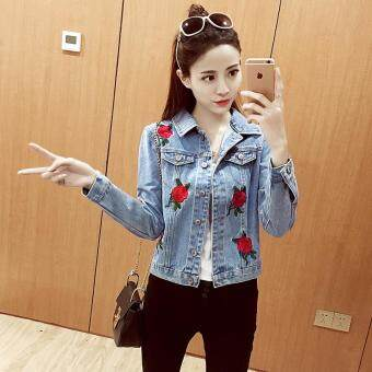 Harga Korean-style denim rose embroidered women jacket denim Top (Darkblue [premium edition])
