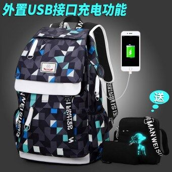 Korean-style female high school student school bag backpack (Charging edition plaid printed with shoulder purse)