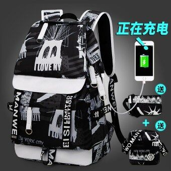 Korean-style female high school student school bag backpack (Charging version of black and white with black and white shoulder purse)