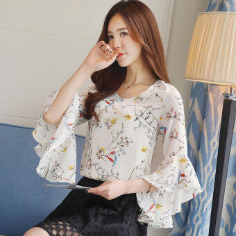Harga Korean-style female short-sleeved New style lotus leaf edge horn sleeve Top floral chiffon shirt