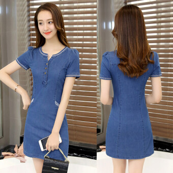 Harga Korean-style female Slim fit Slimming effect denim skirt denim dress (Deep denim blue) (Deep denim blue)