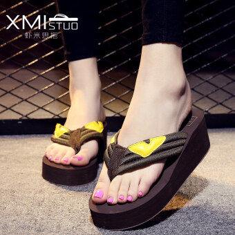 Korean-style female thick bottomed small monster sandals slippers (High cotton small monster PARK'S color)