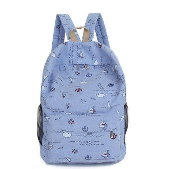 Korean-style High School Students female backpack canvas school bag (Blue)
