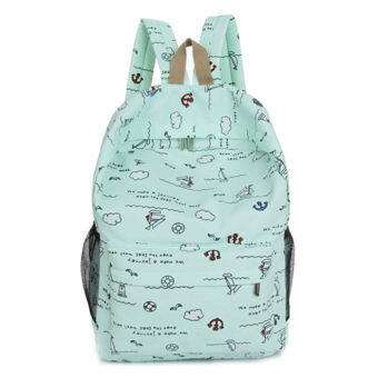 Korean-style High School Students female backpack canvas school bag (Green)
