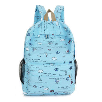 Korean-style High School Students female backpack canvas school bag (Light blue)