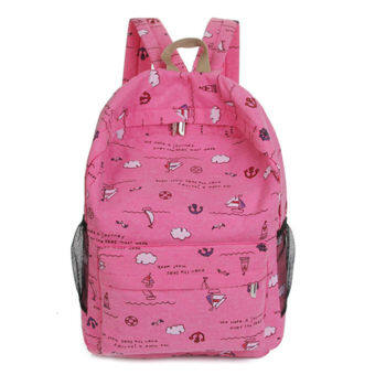 Korean-style High School Students female backpack canvas school bag (Rose color)