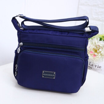 Korean-style large capacity shoulder cross-body waterproof cloth bag nylon women's bag (Dark blue color)