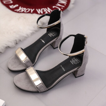 Harga Korean-style New style a word-thick with sandals (Gray)