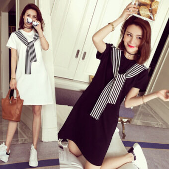 Korean-style pullover high-waisted round neck short sleeved dress A-line dress (622 black)
