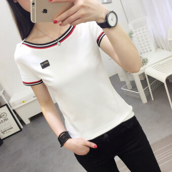 Korean-style Slim fit slimming pullover base shirt solid color short sleeved t-shirt (736 (white)) (736 (white))