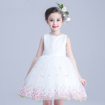 Korean-style small girl's summer skirt girls dress (Plum dress white) (Plum dress white)