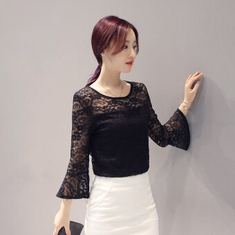 Korean-style spring and summer New style Plus-sized lace shirt(Black)