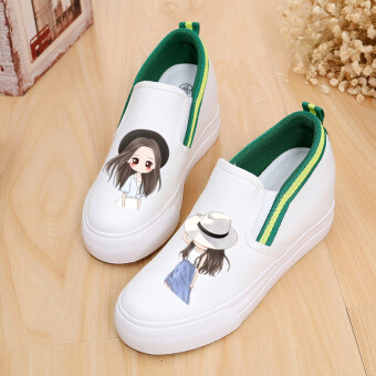 Harga Korean-style white heavy-bottomed increased within the LR shoesgraffiti canvas shoes (White beauty 1)