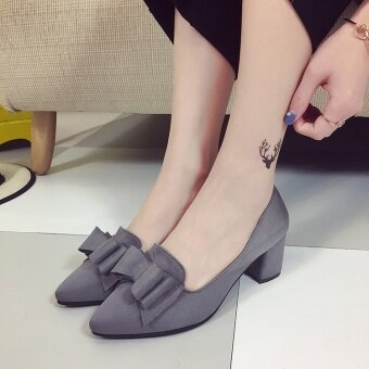 Korean-style Women's Pointed Toe Bowknot Shallow Mouth Suede Chunky Shoes - Grey (Gray) - 2