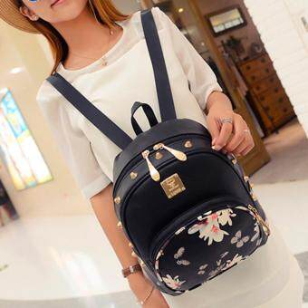 Harga Kstyle 9222 Korean Favorite Casual Design Backpack (Black Flower)