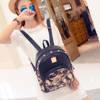 Harga Kstyle 9222 Korean Favorite Casual Design Backpack (Black Rose)