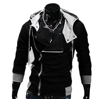 Harga Kuhong explosion of Assassin s Creed sweater oblique zipper hoodedjacket Black