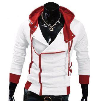 Harga Kuhong explosion of Assassin s Creed sweater oblique zipper hoodedjacket White