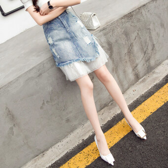 Lace New style does not rule tide mesh denim skirts