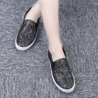 Harga Ladies Causal Lazy Shoes Bling Glitter Flats (Black)
