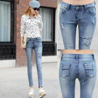 Harga Ladies Cotton Denim Pants Stretch Womens Bleach Ripped Jeans SkinnyJeans Denim Jeans For Female - Blue