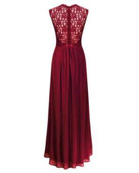 Ladies Evening Dresses Sleeveless Long Designer Evening GownsChiffon Party Dress Lace Hollow Out Formal Dresses Red - 2
