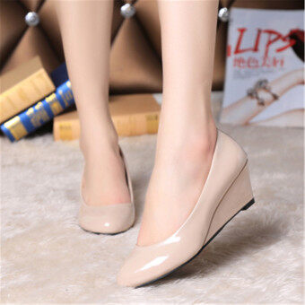Harga LCFU764 Fahion Sexy Nude Color Wedge Work Shoes WeddingShoes-apricot