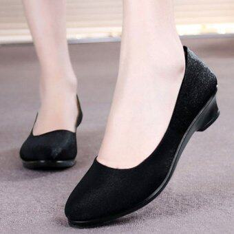 Harga LCFU764 Professional heels comfortable wedges work shoes (black)