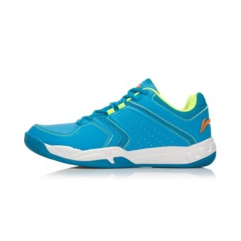 Li Ning aytk 077 breathable cushioning summer breathable training shoes badminton shoes (Wood fine blue/flourescent light green/Bing Cheng)