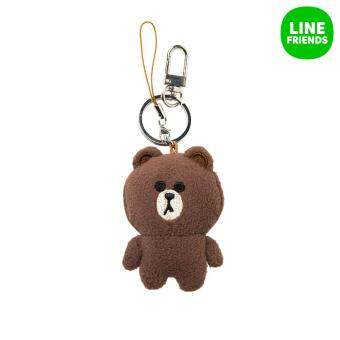LINE FRIENDS PLUSH KEY RING 7cm_BROWN