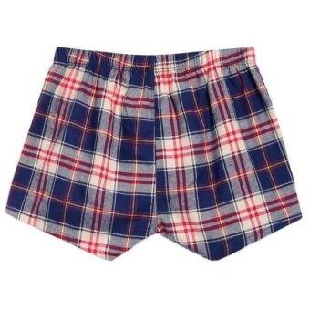 Linemart Ekouaer Men Boxer Mesh Patchwork Print Soft Medium Waist Daily Underwear Pack of 2 ( Blue ) - 2
