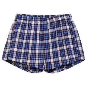 Linemart Ekouaer Men Boxer Mesh Patchwork Print Soft Medium Waist Daily Underwear Pack of 2 ( Blue ) - 3