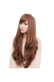 Harga Long Curly Full Wigs Hair Cosplay Lolita Dark Brown