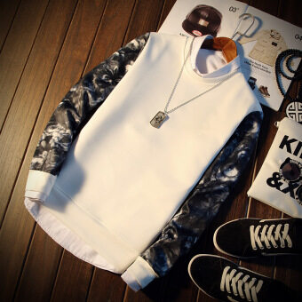 Harga Long Floral Sleeve Men Pullover Sweatshirt (White)