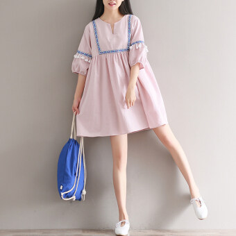 Harga Loose artistic cotton linen New style Asian half-sleeve shirt dress (Leather pink) (Leather pink)
