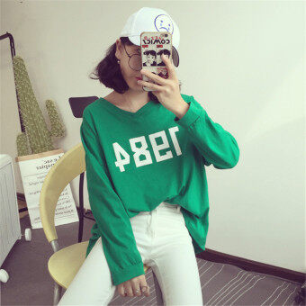 Harga Loose autumn Korean-style long-sleeved t-shirt (Green) (Green)