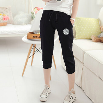 Loose bain2017 thin Plus-sized skinny outerwear women's shorts casual pant (R word seven-black) (R word seven-black)