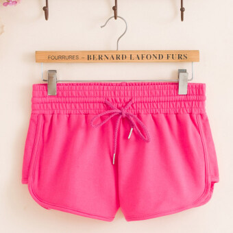 Loose Korean-style cotton stretch female slimming running sports shorts (Cuffs shorts-Rose) (Cuffs shorts-Rose)