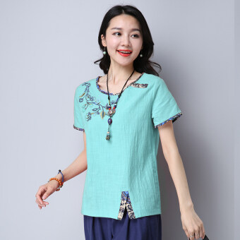 Harga Loose stitching embroidered female slimming Top T-shirt (Green) (Green)
