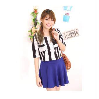 LuvClo Fancy Vertical Stripes Pockets Top (Black)