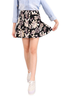 LuvClo Kawaii Floral Printed Front-Zip Skirt (Black)