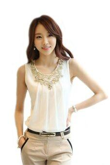 LuvClo (S~2XL) Elegant Gold Embroidery Lace Sleeveless Blouses(White)