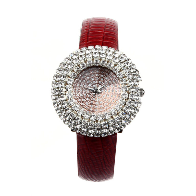 Luxury Starry Leather Inlay Diamond Rhinestone Quartz Red Womens Watch Malaysia