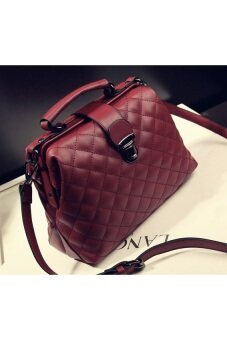 Harga MABLE FASHION Women Square Bucket Shoulder Hand Bag (Red Wine)