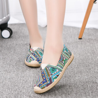 Mary flat heel a pedal canvas shoes (A-02 blue)