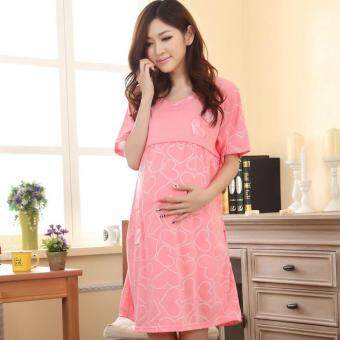 Maternity Clothing Casual Women Clothes Striped Maternity DressNursing Dress Long-Sleeve Pregnant Women BreastfeedingDress-watermelon red