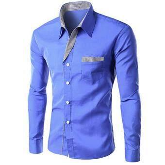 Men Fashion Formal Casual Style Long-Sleeve Pocket Slim Shirt